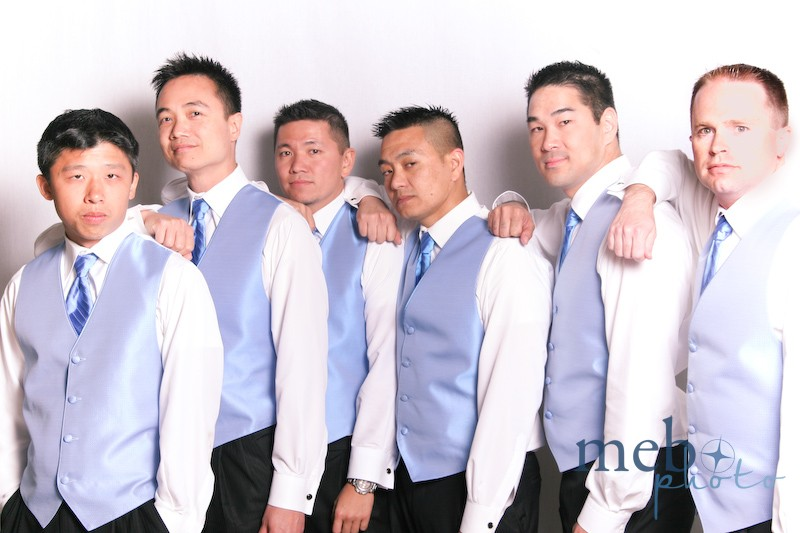 The groom's groomsmen, striking a pose