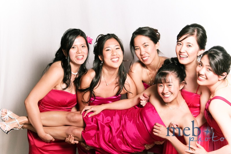 These bridesmaids in pink still had enough energy to do some lifting!