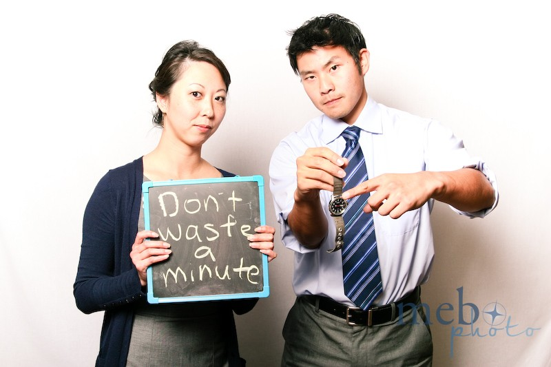 "To the newlyweds, ""Don't waste a minute!"""