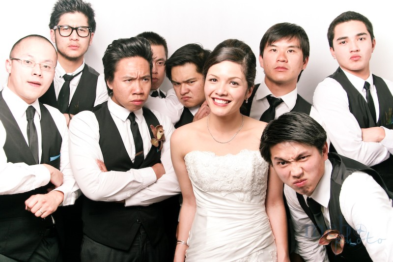 Don't mess with the bride, or her groomsmen will stare you down!