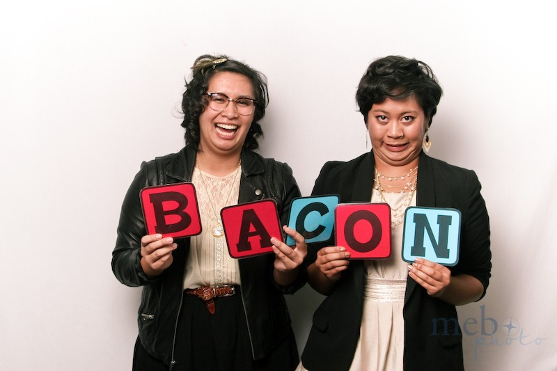 Bacon? An inside joke, but it sure does make for a hilarious picture!
