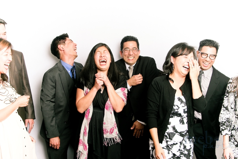 A candid shot of how much fun everyone's having in the photobooth!