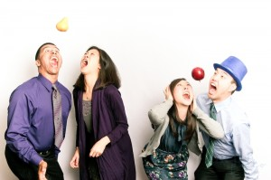 Catch that apple! (one of our faves of the night!)