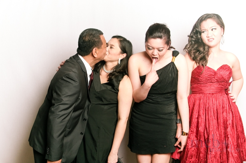 If you want your daughters to look repulsed by you, just kiss their dad on the lips!